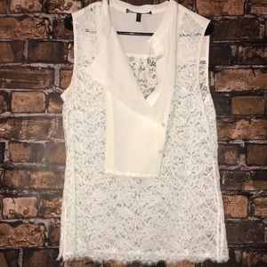 BCBG Maxazria off white sleeveless lace top